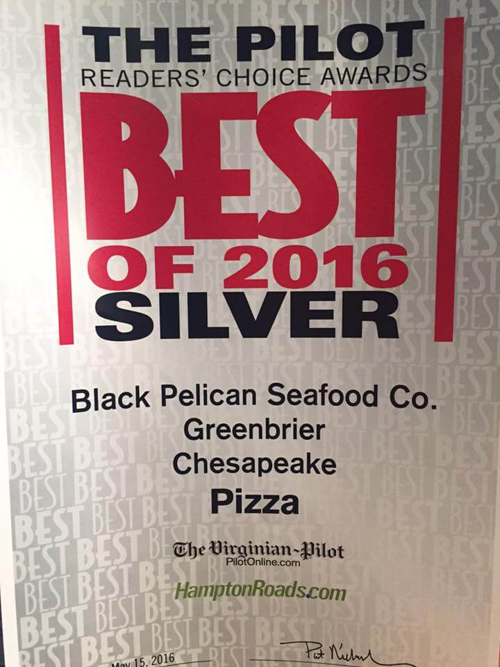 Silver Winner of The Pilot Readers' Choice Best of 2016 for Pizza