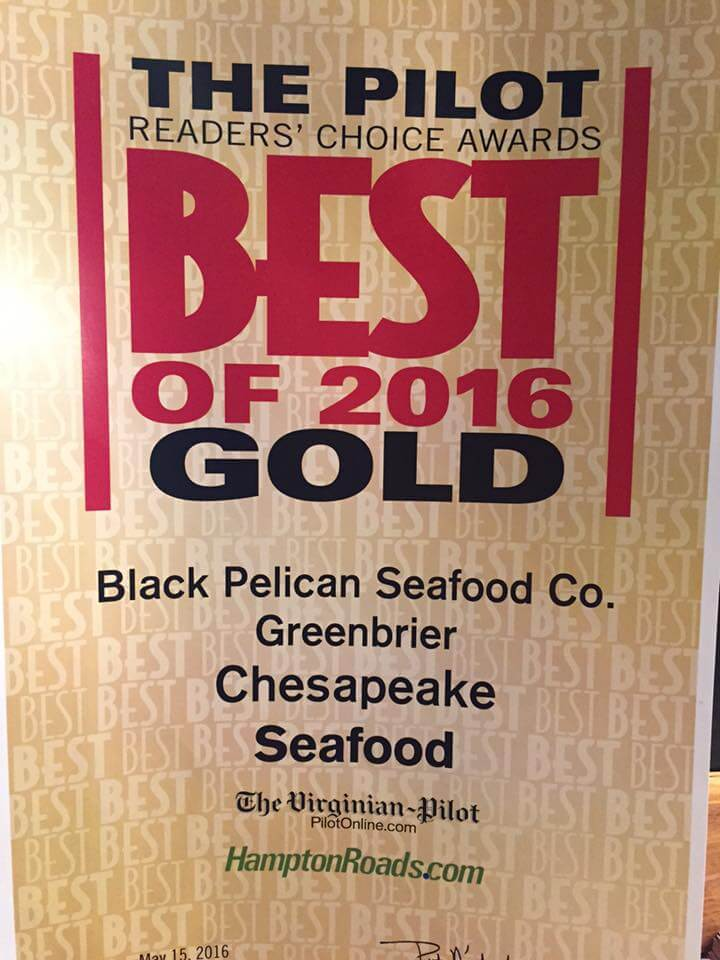 Gold Winner of The Pilot Readers' Choice Best of 2016 for Seafood